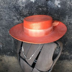Vintage Italian orange straw boater hat